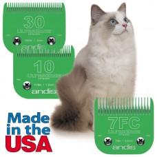Набор - Ножи Andis UltraEdge CAT #30 - 0,5мм, #10 - 1,5мм,  #7FC - 3,2мм, Сталь для Кошки